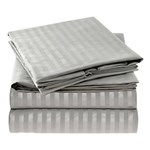 Simmons Mellanni Twin Striped-Gray/Silver Bed Sheet Set Mellanni Bed S