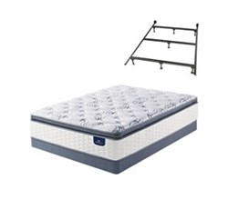 Twin Size Plush Super Pillow Top Mattress and Box Spring Sets with Bed Frame serta select 500 plush spt