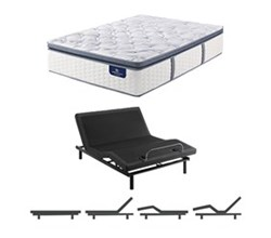 Queen Size Plush Super Pillow Top Mattress and Adjustable Base serta ultimate 2000 super pillow top
